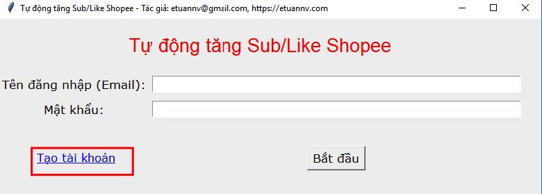 Phần mềm Tự động Sub Like Shopee