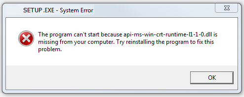 api-ms-win-crt-runtime-l1-1.0.dll is missing