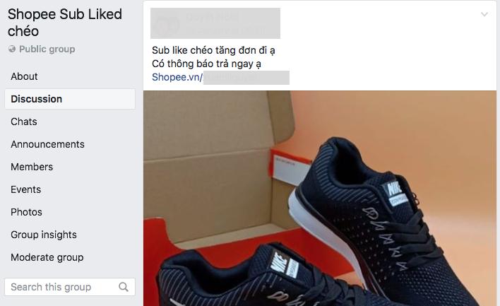 Sub Like chéo Shopee qua Facebook