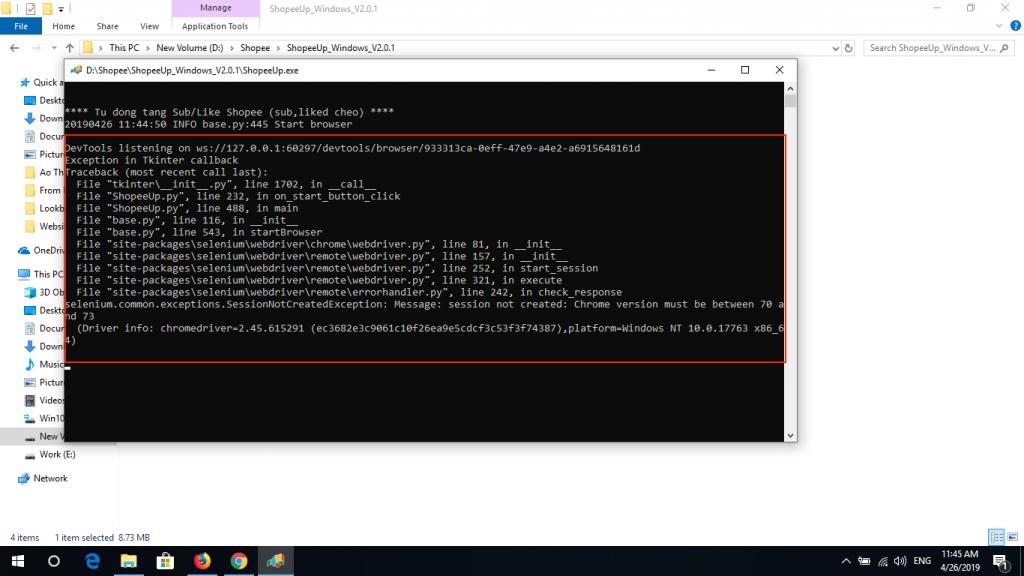 ShopeeUp lỗi phiên bản phần mềm trình duyệt